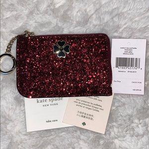 Kate spade red glitter odette L-zip card holder